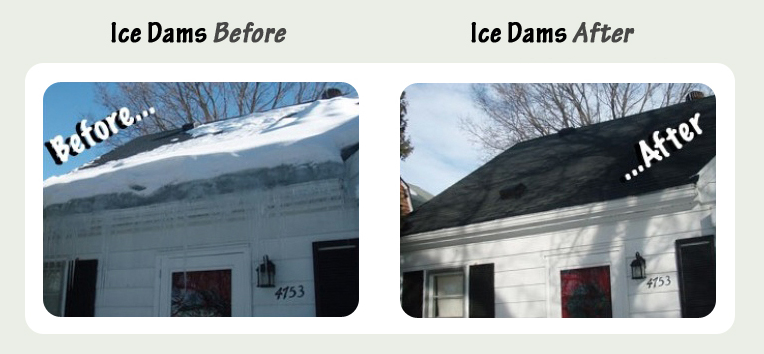 Ice Dams Before and After